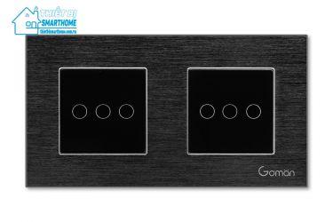 Thietbismarthome.com.vn - Công tắc đèn cảm ứng mặt nhôm ba nút đôi Goman đen