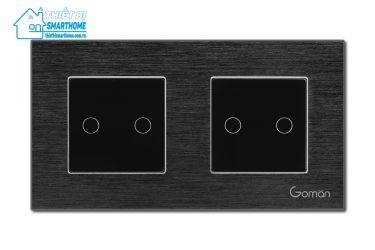 Thietbismarthome.com.vn - Công tắc đèn cảm ứng mặt nhôm hai nút đôi Goman đen