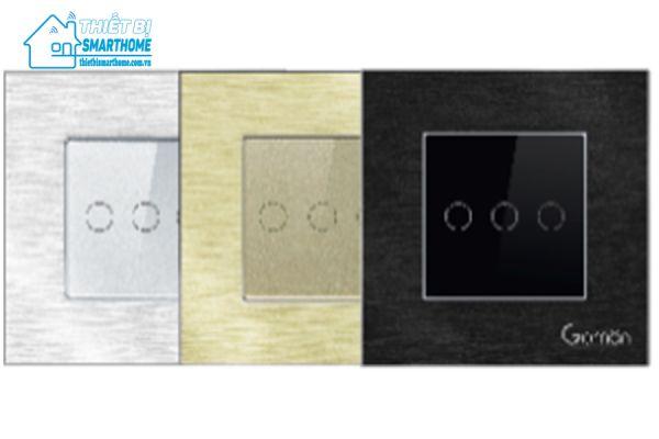 Thiết bị smarthome - Công tắc đèn cảm ứng mặt nhôm ba nút Goman