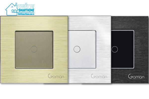 Thiết bị smarthome - Công tắc đèn cảm ứng mặt nhôm một nút Goman