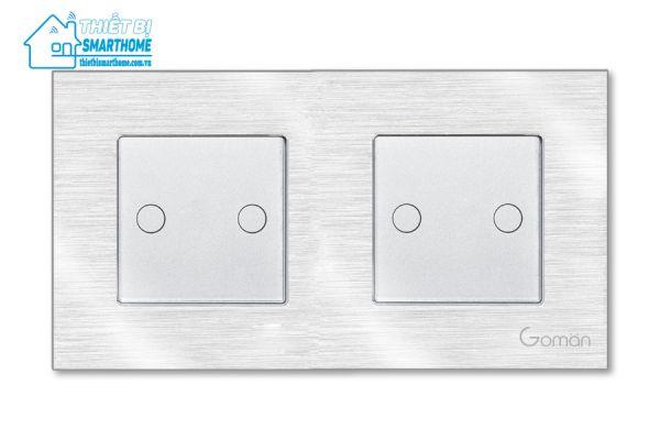 Thietbismarthome.com.vn - Công tắc đèn cảm ứng mặt nhôm hai nút đôi Goman - trắng