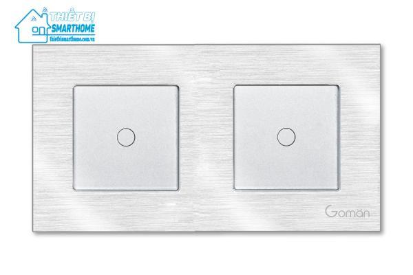 Thietbismarthome.com.vn - Công tắc đèn cảm ứng mặt nhôm một nút đôi Goman - trắng