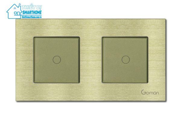 Thietbismarthome.com.vn - Công tắc đèn cảm ứng mặt nhôm một nút đôi Goman vàng